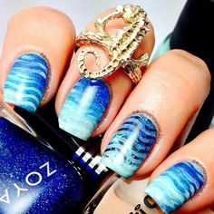 Ocean Wave Inspired Nails