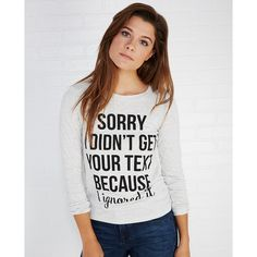 It Closet  Ignored Your Text Tee ($17) ❤ liked on Polyvore featuring tops, t-shirts, heather gray, wet seal, heather grey t shirt, heather gray t shirt, wet seal t shirts y crew t shirt