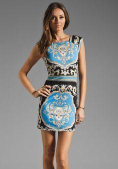 Shona Joy The Adorned Body Con Dress in Royal/Musk