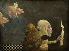 James C. Christensen - If Pigs Could Fly - LIMITED EDITION CANVAS from the Greenwich Workshop Fine Art Gallery featuring fine art prints, canvases, books, porcelains and gift ideas. Street Art, Workshop, Art Sculpture, Poster Prints, Art Prints, Flying Pig, Illustrations, Limited Edition Prints, American Artists