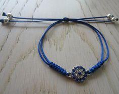 Malocchio strass brillante rotondo cristallo Macrame impilabile blu unico moderno scorrevole stratificazione amicizia desideri bracciale, bracciale teenager