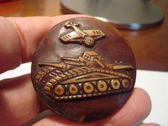 Antique vintage buffed CELLULOID depicting WAR PLANE, ARTILLERY TANK button Lg  63