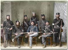 1913 Monks- colourised photo above shows guards of a Greek monastery in Mount Athos after having repelled Bulgarian invaders Some are possibly monks and there is one Gendarme among them Greece History, Macedonia Greece, Byzantine Icons, European History, Second World, Military History, Historical Photos, Warfare, Bulgarian
