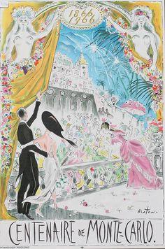 Rare 1966 Cecil Beaton 'Centenaire de Monte Carlo' Framed Colored Lithograph