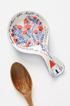 Giochi di Carta Humble Abode Spoon Rest by in Blue, Kitchen at Anthropologie The Medium, Ceramic Spoons, Ceramic Pottery, Painted Pottery, Paper Cutting, Garden Tiles, Newlywed Gifts, New Homeowner, Kitchen Collection
