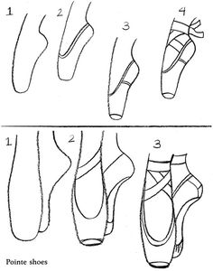 """How to Draw Ballet Pointe Shoes Dover Sampler from """"How to Draw Ballet Pictures"""" by Barbara Soloff. Ballerina Drawing, Ballet Drawings, Dancing Drawings, 3d Drawings, How To Draw Ballerina, Ballerina Project, Cute Love Drawings, Drawing Techniques, Drawing Tips"""