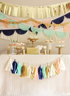 Peach, mint, navy, and glittery sparkly gold party by Charmingly Kristin Designs! Tissue Garland, Backdrops For Parties, Party Time, Diy Party, Asian Dating, Valance Curtains, Tapestry, Birthday Parties, Teen
