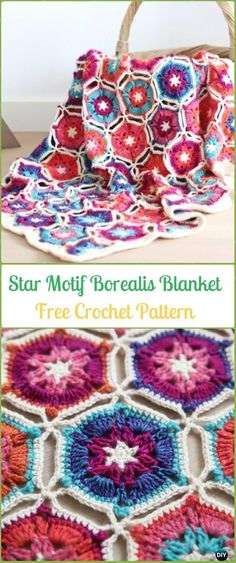 Crochet Hexagon Star Motif Borealis Blanket Free Pattern - Crochet Hexagon Motif Free Patterns #crochetsquares
