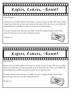 This is a free download for you to send home to parents if you are having a movie day in class. Terms of UseYou can use this product for personal or classroom use.You may not sell or redistribute all or part of this product as your own work.You may buy additional licenses rights for more than one classroom or for a whole school at my TPT store Shanons School Supplies