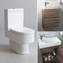 Clermont Toilet & 400mm Slimline Wall Hung Basin Cabinet Cloakroom Set - Walnut