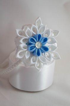 hair clip hair band snowflake handmade kanzashi by myflowersshop