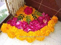 Beautiful Corner Rangoli Using Fresh Marigold Rose Flowers Petals Tutorial- DIY Home Decore Simple Rangoli Designs Images, Rangoli Designs Flower, Rangoli Patterns, Rangoli Ideas, Rangoli Designs Diwali, Flower Rangoli, Beautiful Rangoli Designs, Easy Rangoli, Diwali Decorations At Home