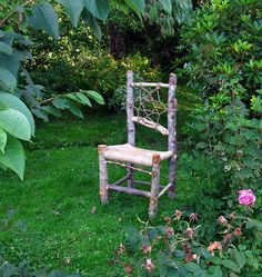 Rustic kitchen chair, local wood, natural cordage, log furniture. OOAK unique, made to order by Arthur Sevestre, Isle of Skye, Scotland.