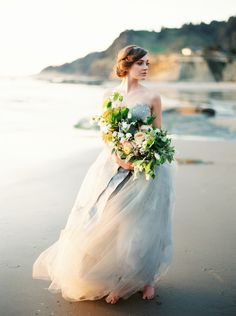 Ethereal Gray Chiffon Wedding Dress | Erich McVey Photography | The Perfect Wedding Dress for a Beach Bride!