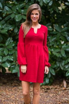 """You can breathe easy with this cozy dress in your closet! You know that gorgeous color is perfect for the season and and the comfy fit can be taken from casual to classy with the change of shoes!   Bra-friendly! Material has generous amount of stretch.  Miranda is wearing the small.   Sizes fit:  Small- 0-4; Medium- 6; Large- 8  Length from shoulder to hem: S- 31.5""""; M- 32.5""""; L- 33.5""""."""