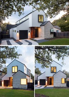 This modern house on a residential street in Austin, Texas, features an exterior of limestone, wood and stucco.