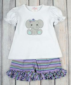 Love this Stellybelly Purple Elephant Appliqué Tee & Shorts - Infant, Toddler & Girls by Stellybelly on #zulily! #zulilyfinds