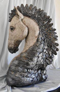 Raku, 'Raven's Mane' , large horse sculpture bust by Leslie Ahrens