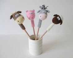 Farmyard Pencil Toppers toy knitting patterns by fluffandfuzz