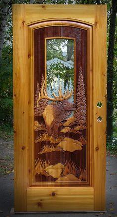 Mountain Elk & with etched glass door Cool Doors, Unique Doors, Rustic Doors, Wooden Doors, Cabin Doors, Knobs And Knockers, Entry Doors, Door Design, Windows And Doors