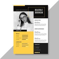 Online Cv Template, Modern Cv Template, Resume Design Template, Creative Resume Templates, Creative Resume Design, Business Templates, Site Cv, Portfolio Design Grafico, Creation Cv