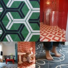 Hexagon patterned tiles. Like it.