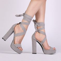 Adrina Lace Up Heels in Grey Faux Suede . Mess around with wrap around. We've got disco fever over Adrina. We're keeping you an inch above with best with a Lace Up Sandals, Lace Up Heels, Pumps Heels, High Heels, Heeled Sandals, Grey Heels, White Shoes, Strap Up Heels, Public Desire Shoes