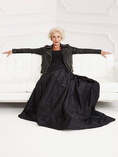 Helen Mirren - leather jacket with formal wear - in black of course.