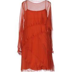 Alberta Ferretti Short Dress ($1,499) ❤ liked on Polyvore featuring dresses, rust, red sleeveless dress, sleeveless short dress, flutter-sleeve dress, red slip dress and red ruffle dress