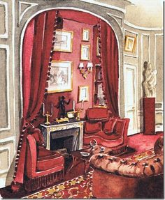 Christian Dior's Paris house sitting room decorated with the help of Georges Geffroy. Watercolor by Mark Hampton.