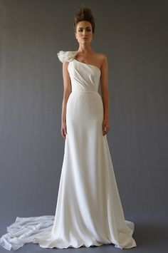 One shoulder wedding gown with ruffle detail