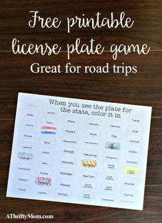 Free printable road trip game ~ color the license plate - A Thrifty Mom - Recipes, Crafts, DIY and Ireland With Kids, Road Trip Games, Boredom Busters, Diy Craft Projects, Kids Crafts, School Projects, Recipe For Mom, Roadtrip, Traveling With Baby