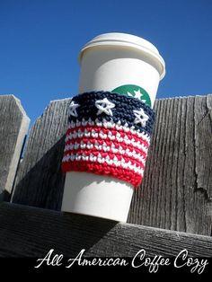 All American Coffee Cozy Crochet Pattern Crochet Coffee Cozy, Coffee Cup Cozy, Crochet Cozy, Quick Crochet, Crochet Crafts, Crochet Yarn, Crochet Projects, Hot Coffee, Iced Coffee