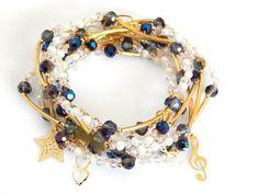 Modelo: SOM0050 Hermosos Semanario de chapa 14k con cristal checo, cristal especial  y perla natural, color el de la foto, precio por juego de 7 pulseras $160.00 pesos.