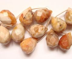 """Chinese Crazy lace Agate Light - 13x18mm Faceted Teardrop 16"""""""