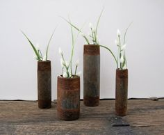 Rusty Pipe Dry Vase Urban Industrial Home Decor