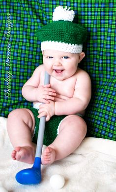 Golf Baby Crochet Diaper Cover and Hat  via Etsy.