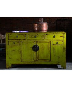 Shanxi Sideboard Lime Yellow - Chinese Furniture