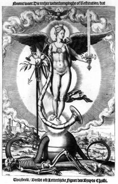 The Gnostic Sophia (rising awareness of female Wisdom). Gnostics see her as one of the Aeons, the Divine Emanations of the One True God, who reside within and comprise the non-material Pleroma. According to Gnostic belief, she spawned a corrupt Aeon, the Demiurge, who was an ignorant, false god. The Demiurge then created the material world as well as more false Aeons, called Archons, over which he ruled.