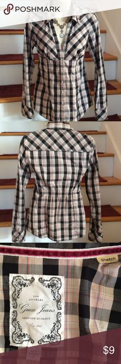 Pretty Guess brand Top, Size S Pretty Guess Brand top with stretch, very cute top but too small for me, button front. Please note, 4th pic shows spots at sleeve, not very noticeable but need to point out. Otherwise, top is in very good condition, Size S Guess Tops