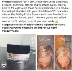 I can't believe I never tried this! I will be using this trick in order to replace dry shampoo with all those yucky chemicals. Arbonne Party, Arbonne Detox, Arbonne Consultant, Arbonne Nutrition, Arbonne Makeup, Natural Detox, Natural Skin, Natural Beauty, Arbonne Business