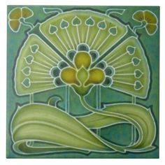 Art Nouveau Pattern, Art Nouveau Tiles, Art Deco, Antique Tiles, Vintage Tile, Antique Art, Vintage Art, Schmidt, Craftsman Tile