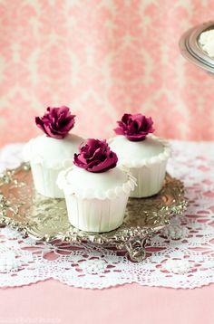 Cute Purple Sugar Flowers on White Cupcakes!