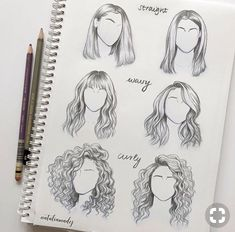 to draw straight wavy curly hair different sides angles perspectives views o., How to draw straight wavy curly hair different sides angles perspectives views o., How to draw straight wavy curly hair different sides angles perspectives views o. Art Drawings Sketches, Cool Drawings, Pencil Drawings, Drawing Faces, Hair Drawings, Curly Hair Drawing, Hair Styles Drawing, Anime Curly Hair, Wavy Hair