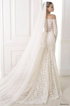 pronovias atelier bridal 2015 kampara off shoulder long sleeve wedding dress illusion back
