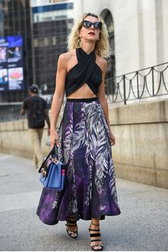 Street style at New York fashion week. If you have a slight physique you can rock this daring top. The full maxi will create the illusion of hips too! Read more stylist tips in my book SHOPPED @septemberpublishing #author #personalshopper