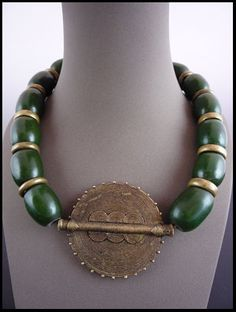 Bronze & Green Amber Necklace