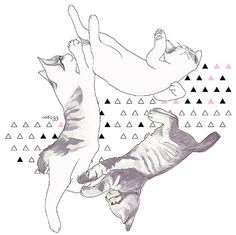 cat triangle Etsy  illustration for the wall by memorieswarehouse, €3.00