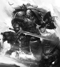 Leman Russ by Mikhail Savier on ArtStation. Warhammer 40k Space Wolves, Warhammer 40k Art, Warhammer Fantasy, Dc Comics, The Horus Heresy, Tyranids, The Grim, Space Marine, Fantasy Artwork
