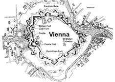 Layout of the siege showing the placement of the Ottoman trenches to the left Battle Of Vienna, Star Fort, The Siege, Fortification, City Maps, Vienna Austria, World Star, Castles, Medieval